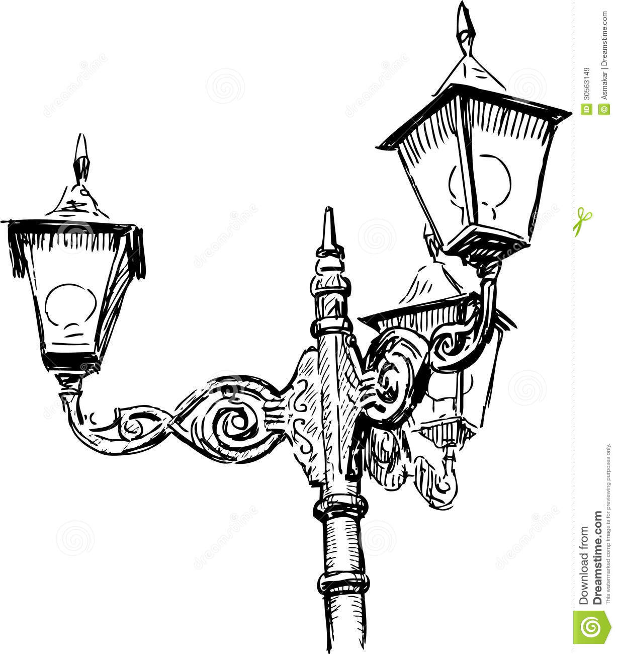 Street lamps stock image. Image of doodle, triple, drawn - 30563149 for Street Lamp Drawing  53kxo