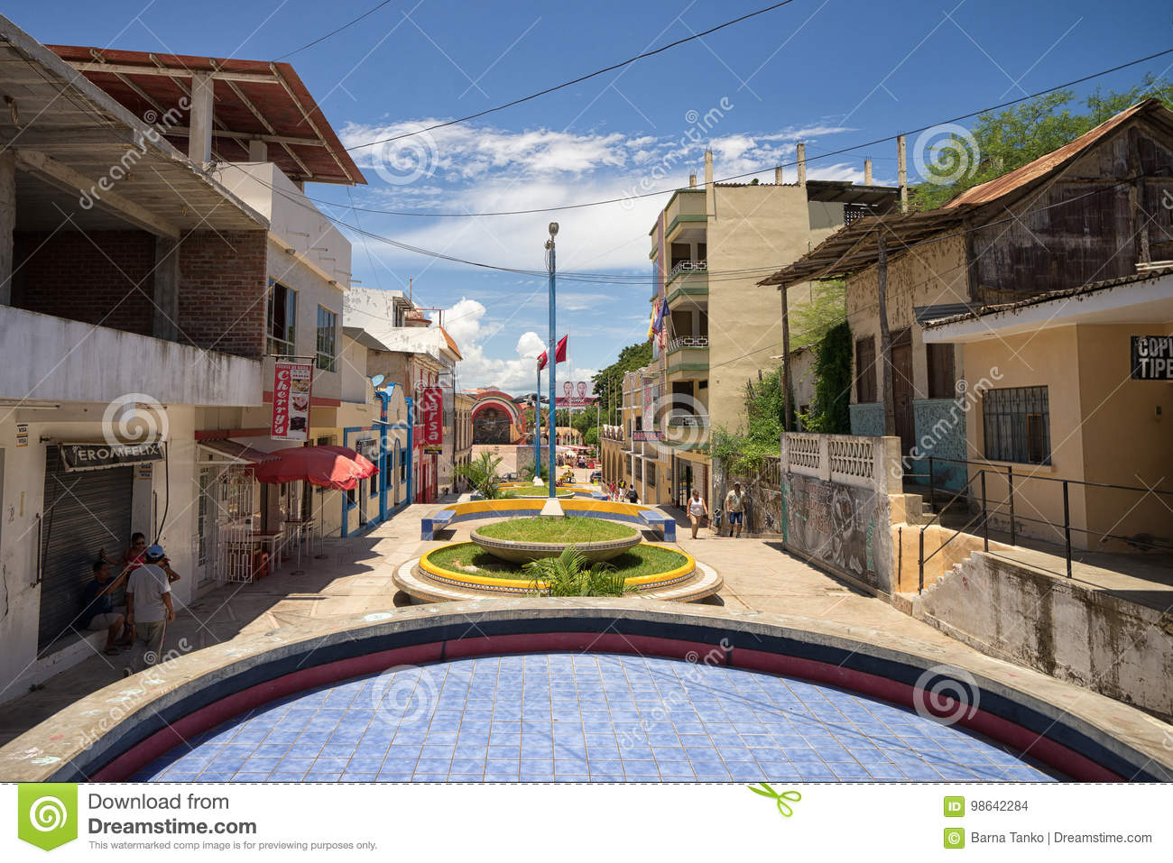 Street Leading To The Center Of The Town In Tumbes Peru Editorial Stock Image Image Of Town Buildings 98642284