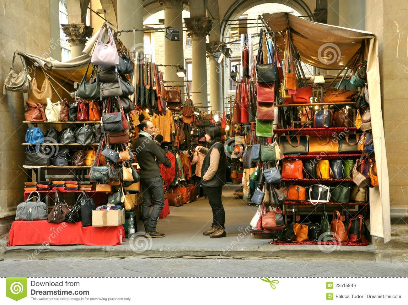 Street Leather Market In Florence Italy Editorial Photo