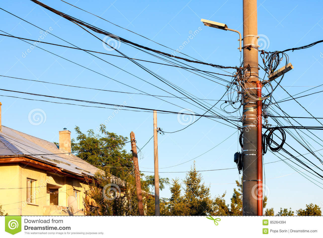 Street Light Pillar With Many Cables Stock Photo Image Of Crowd Wiring Old House Download