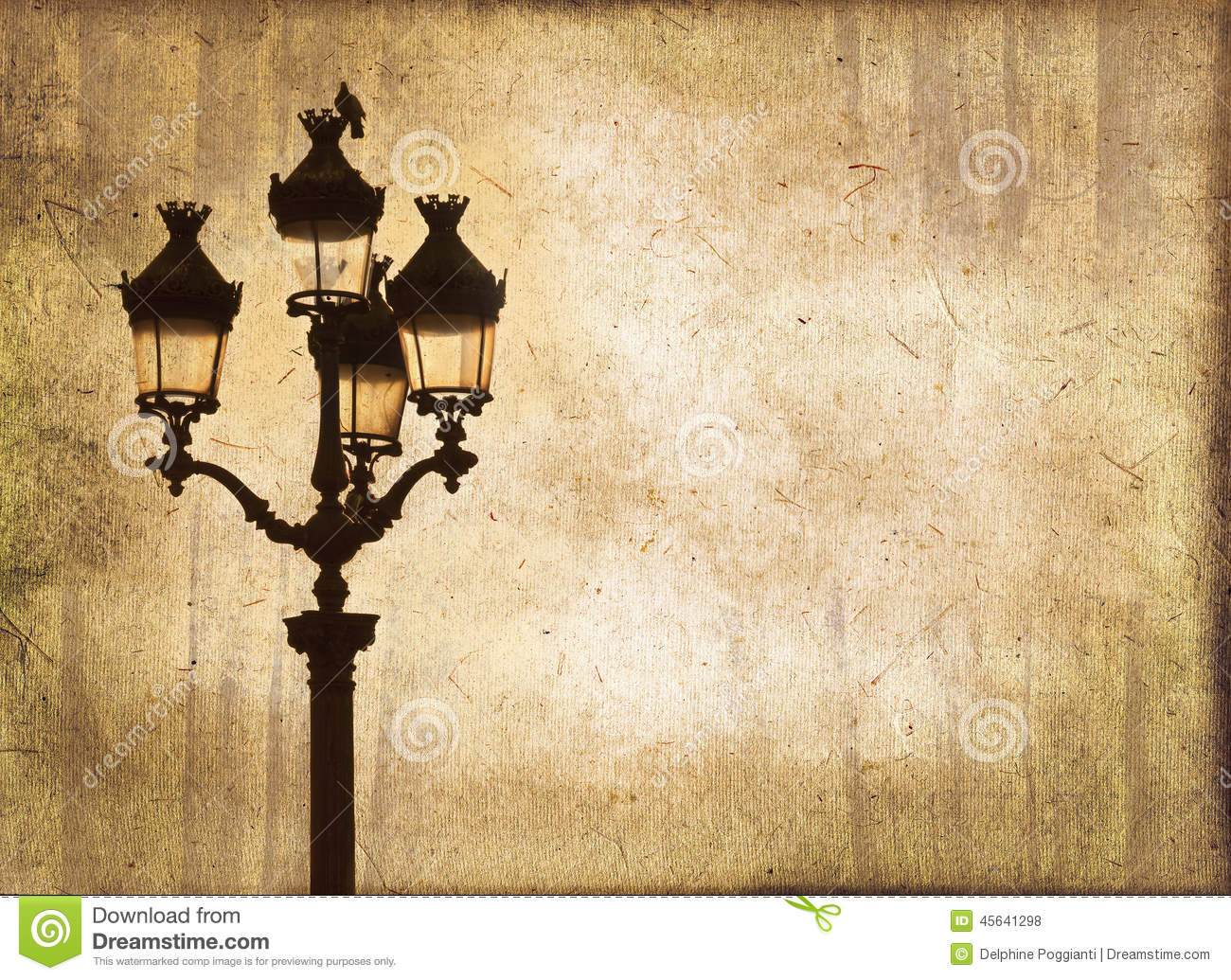 Street Light At Sunset Sepia Vintage Background Royalty Free Stock Photos