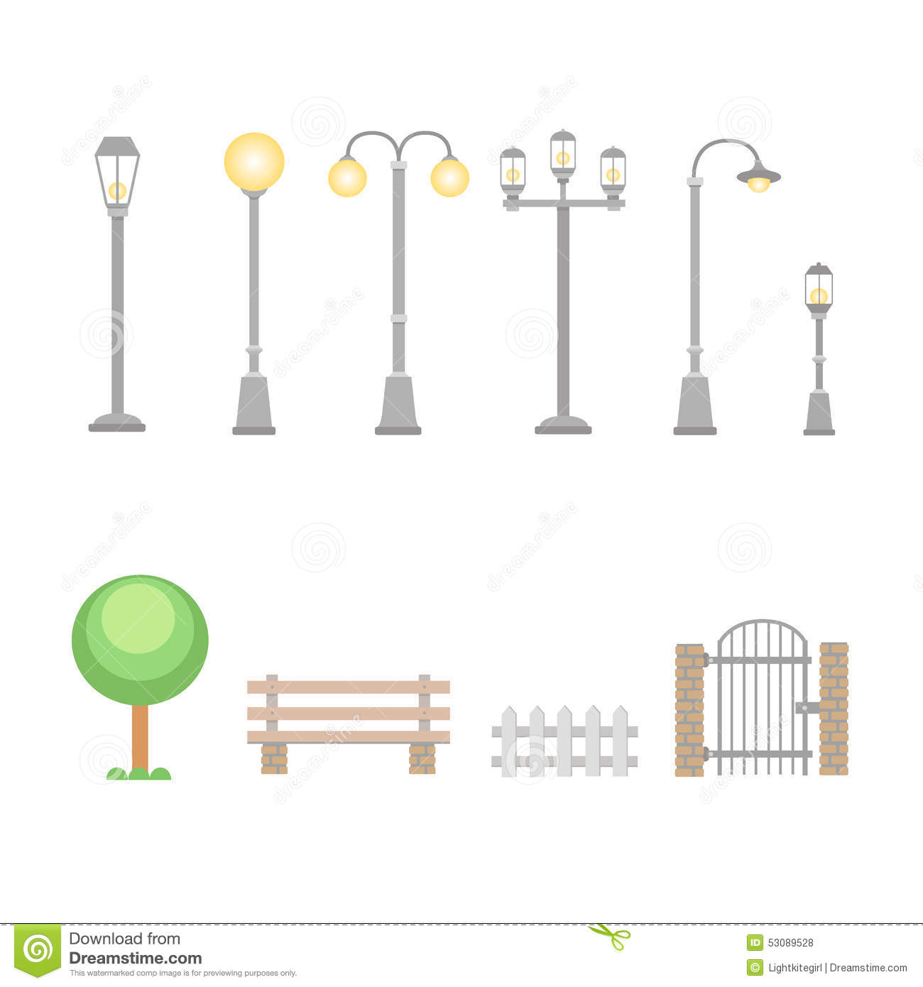 Street Lights And Lamps Set Outdoor Elements Stock Vector