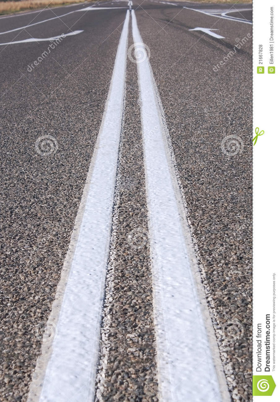 Street Lines On The Road, Close Up Stock Photo - Image ...