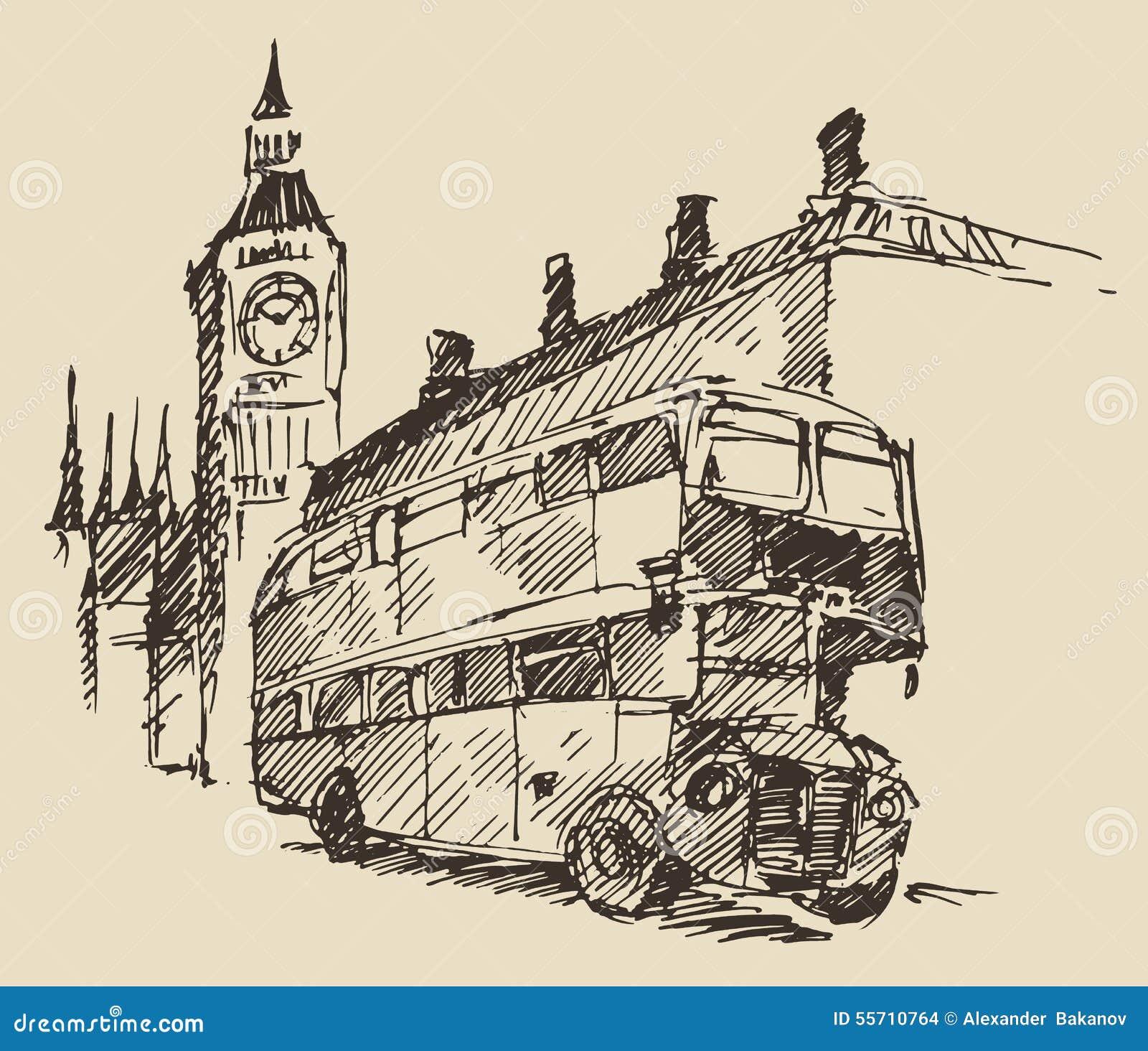 Street London England Bus Big Ben Vintage Sketch