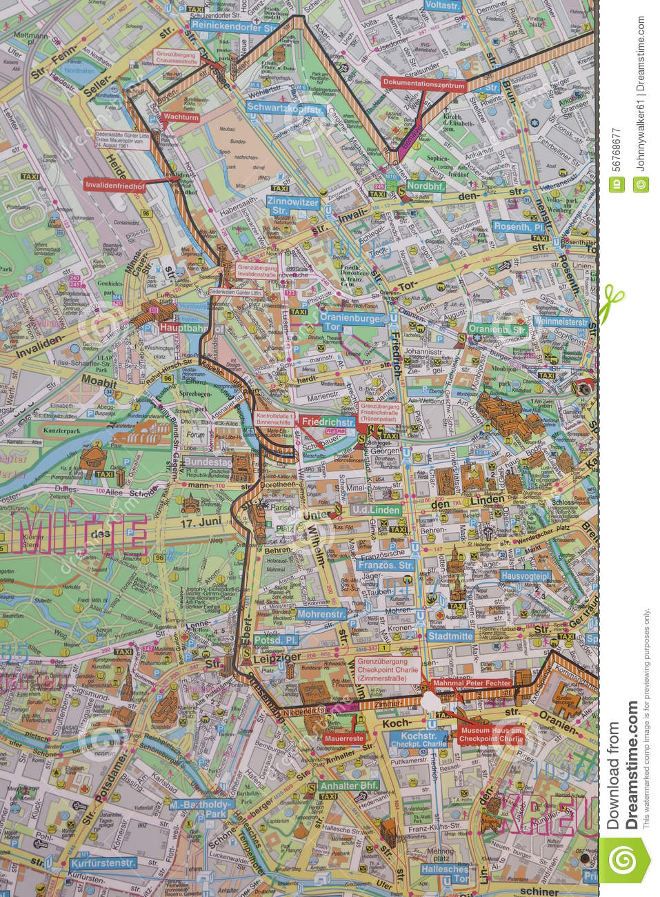 Street Map Of Berlin Wall Stock Photo