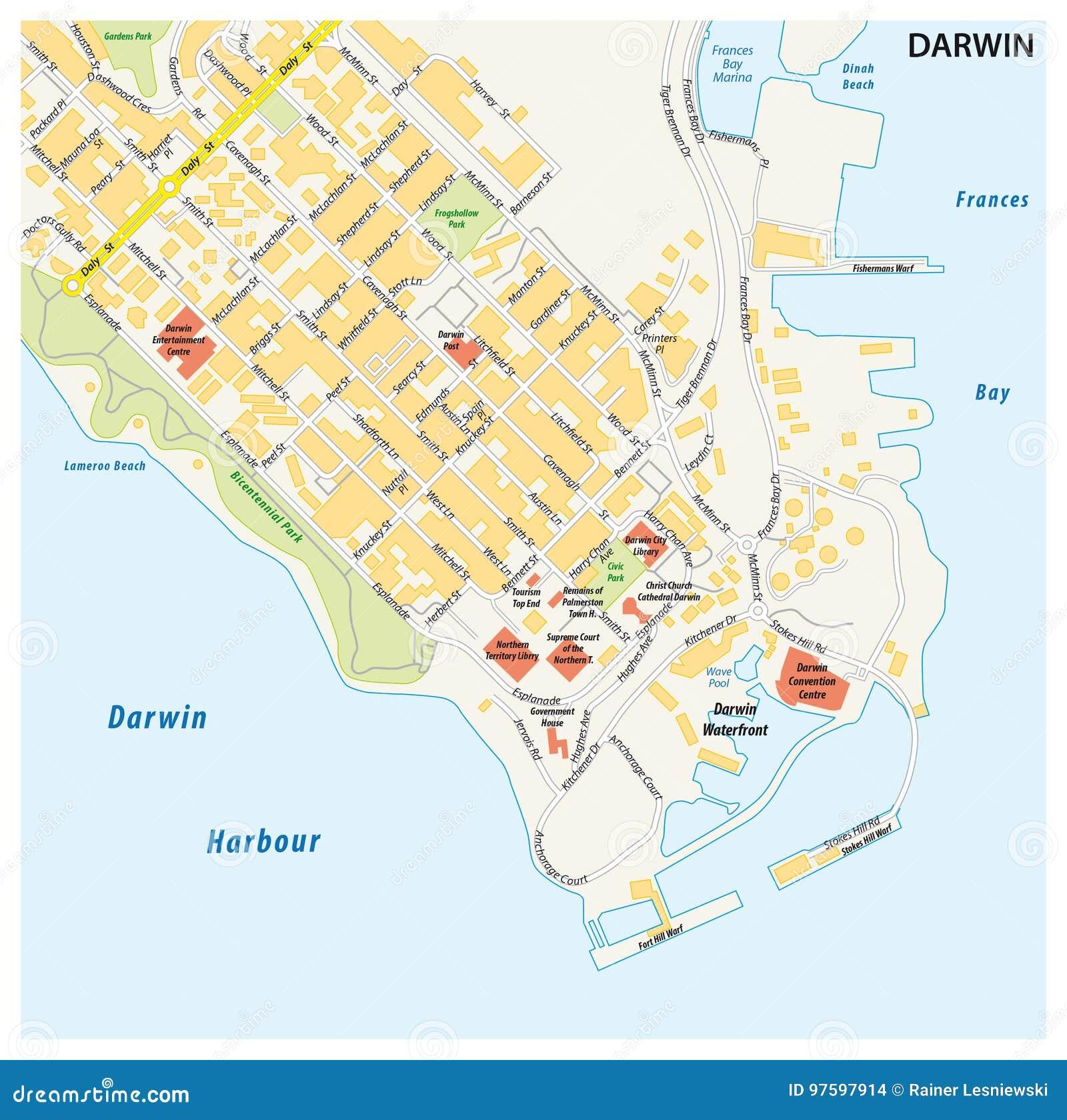 Northern Australia Map.Street Map Of The City Of Darwin Northern Territory Australia