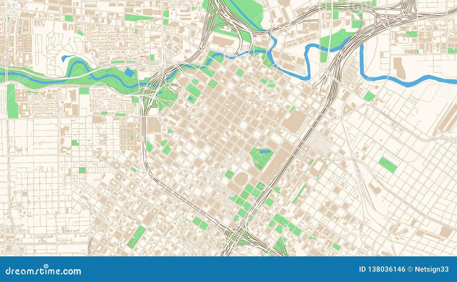 Street Map Of Houston Texas Stock Vector Illustration Of