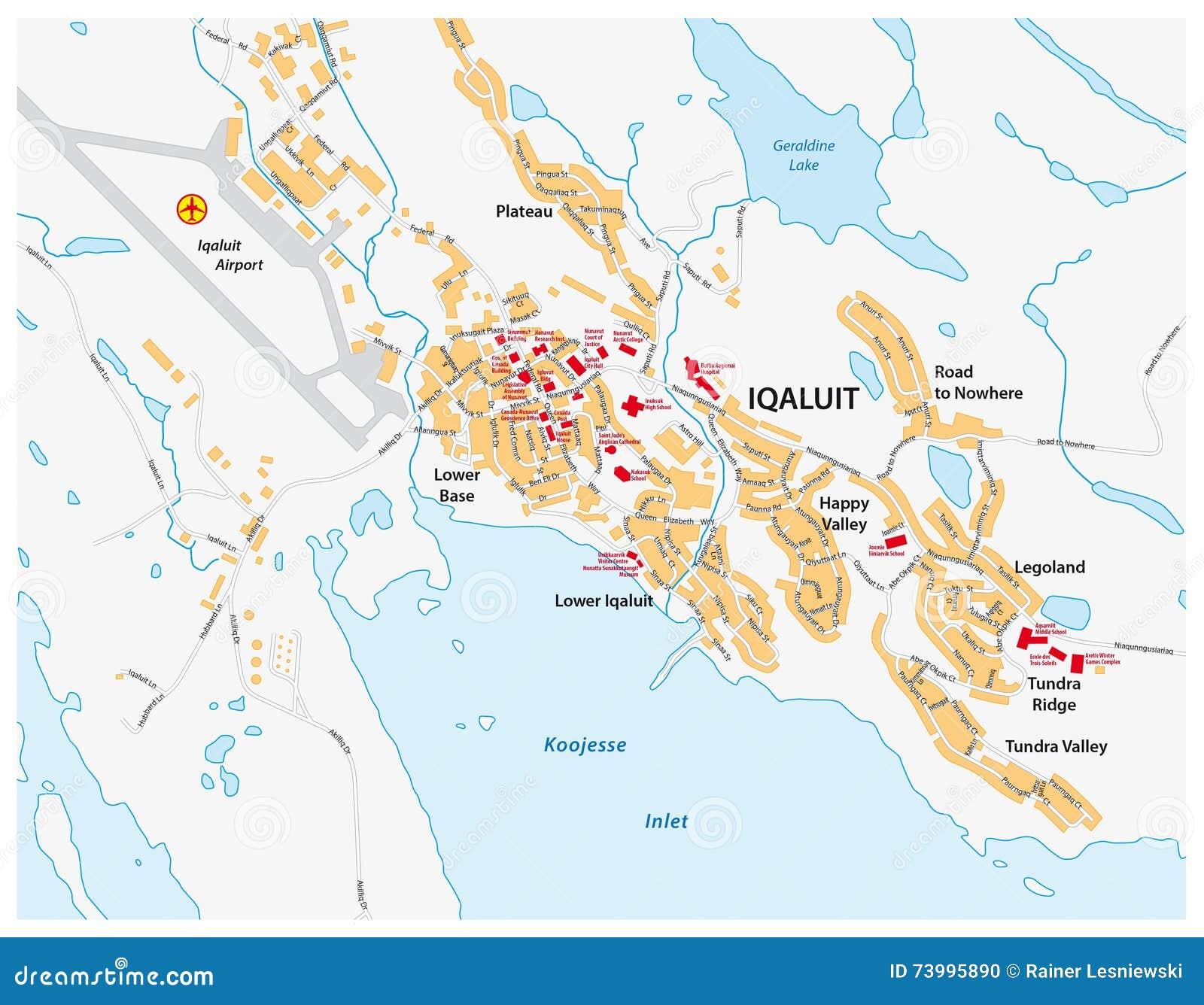 Map Of Canada Nunavut.Street Map Of Iqaluit Nunavut Territory Canada Stock Illustration