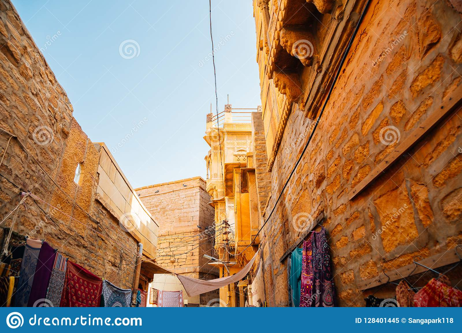 Street market and old buildings at Jaisalmer fort in India