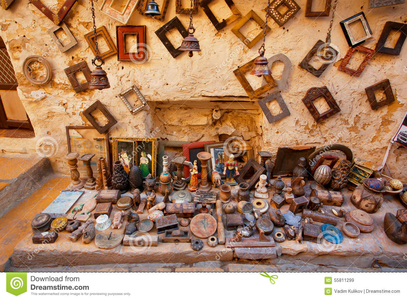 street market with second hand photo frames editorial stock image