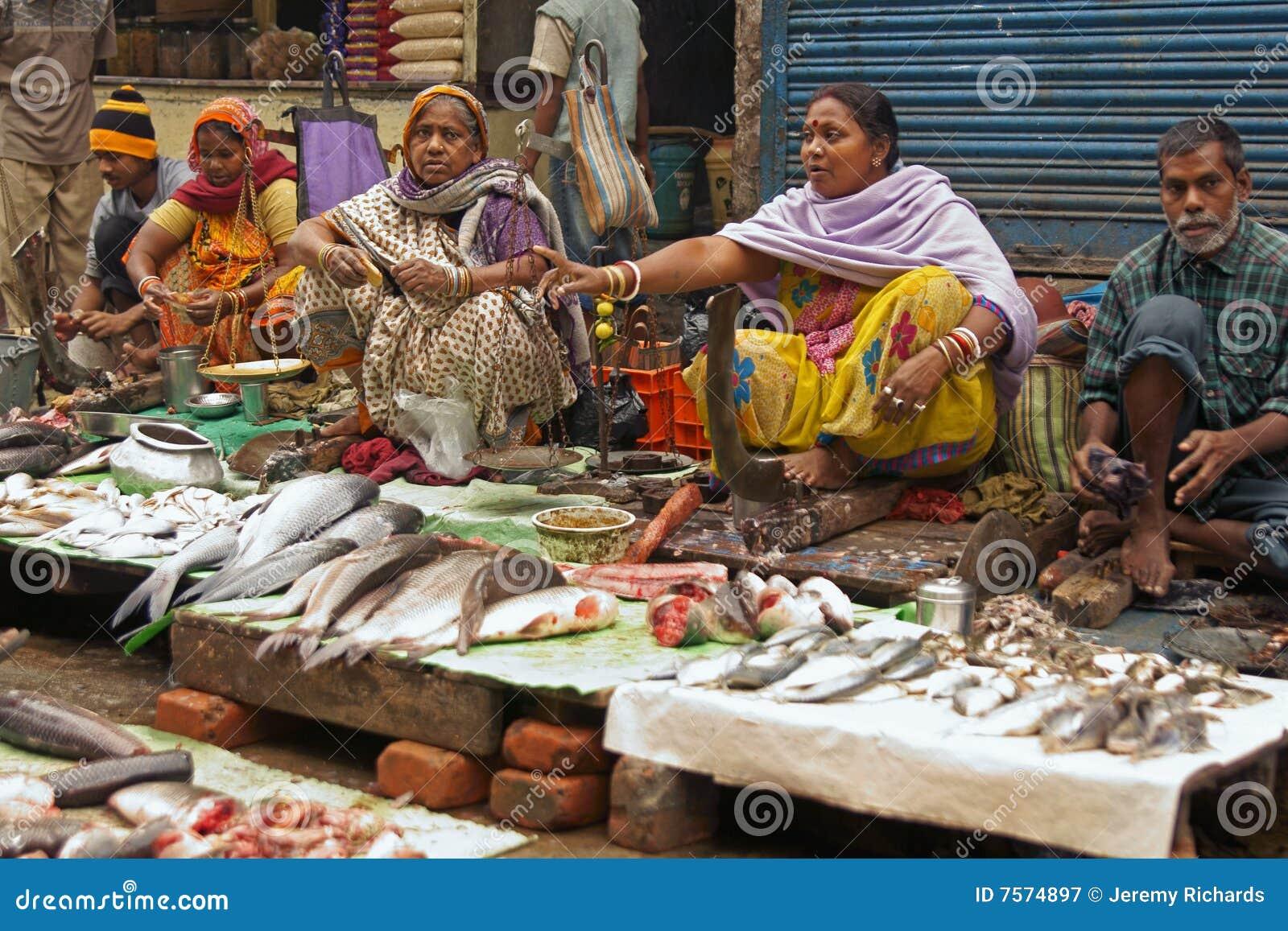 Street Market Selling Fish Kolkata Calcutta India
