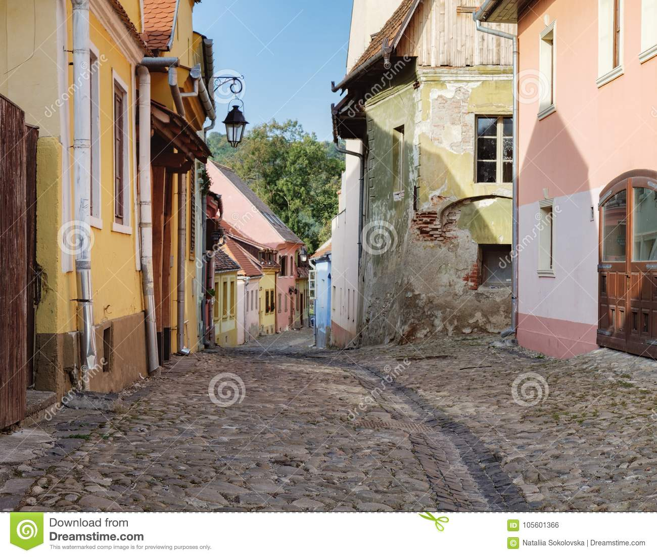 Street with medieval houses in Sighisoara, Romania