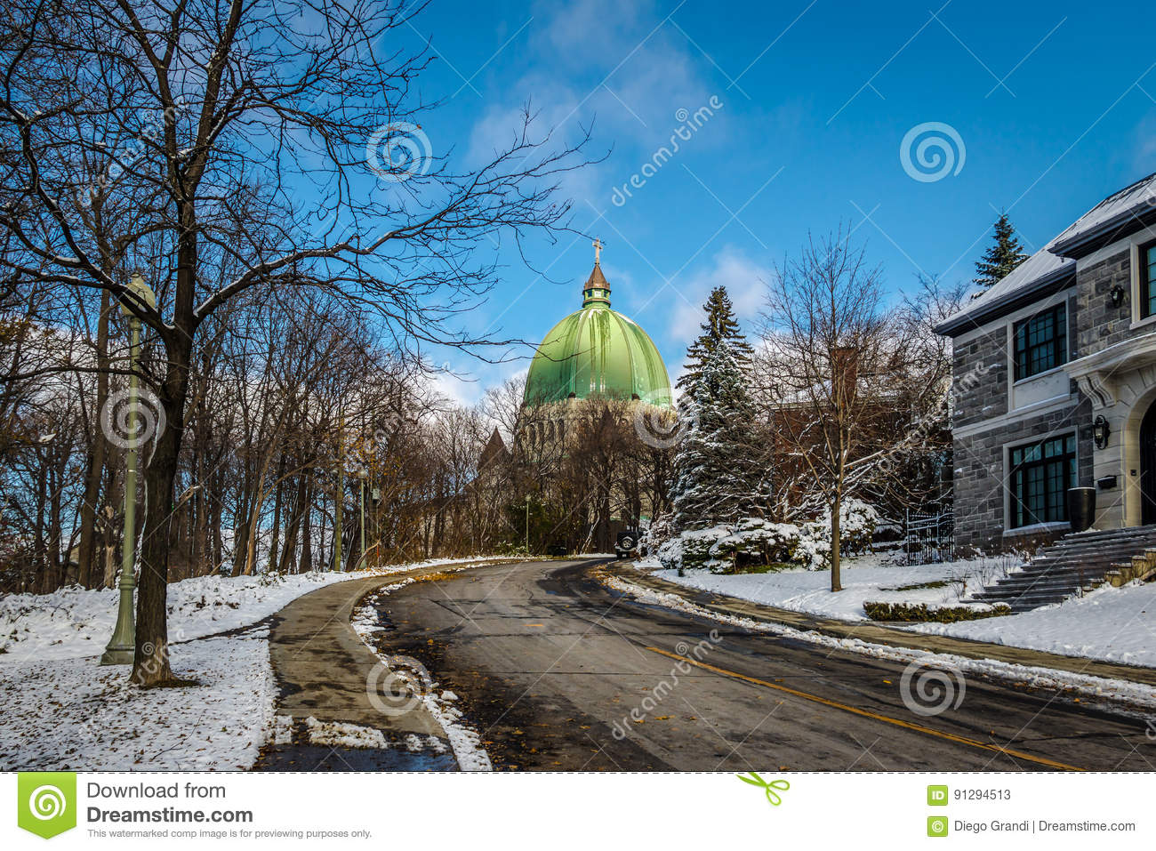 Street in Montreal with a view of Saint Josephs Oratory Dome - Montreal, Quebec, Canada