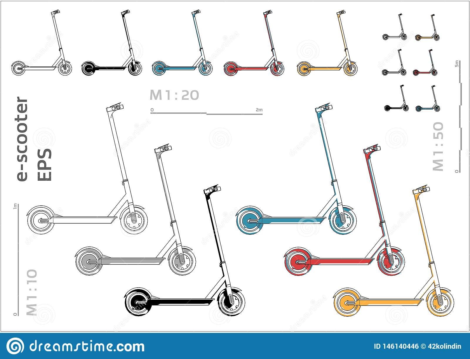 Street motorized electric kick e-sooter vector icons set for architectural drawing and illustration