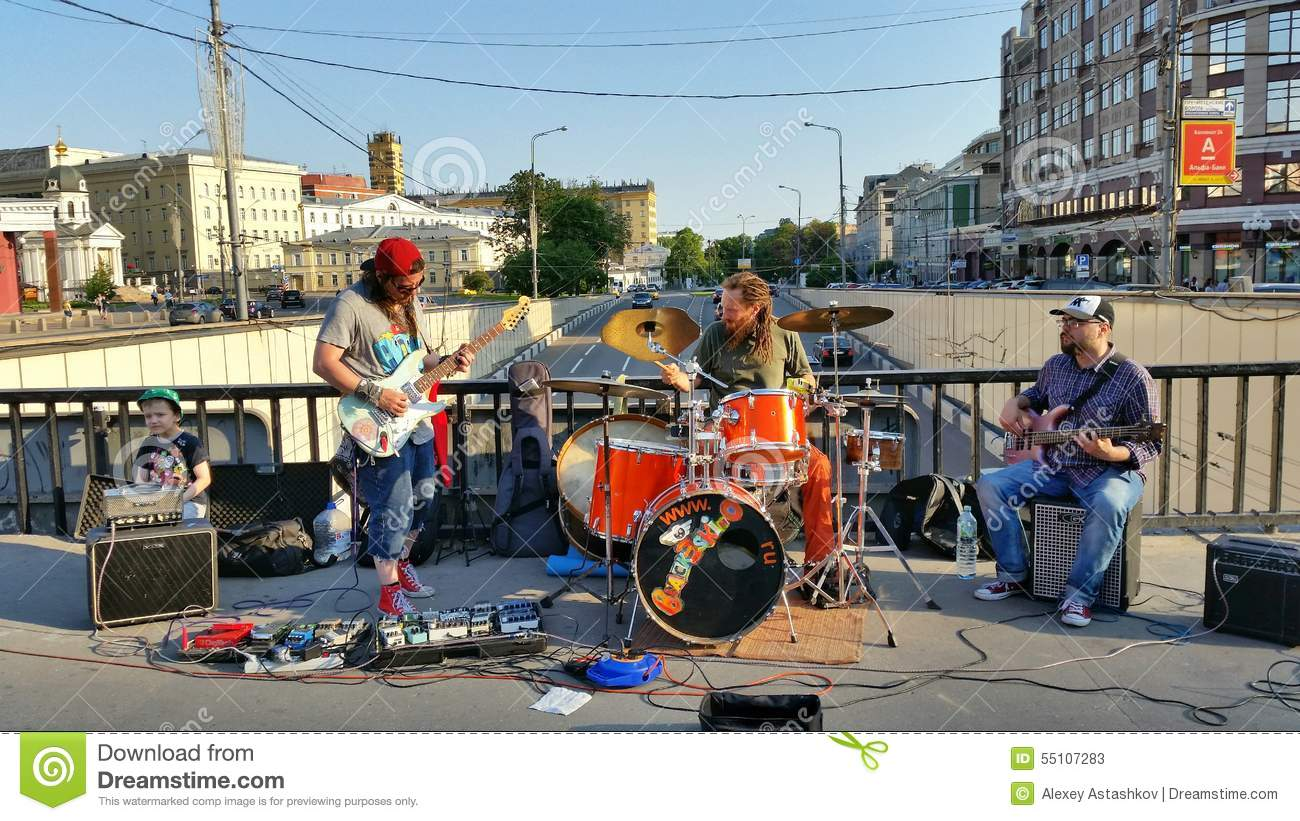 playing music on the street for money