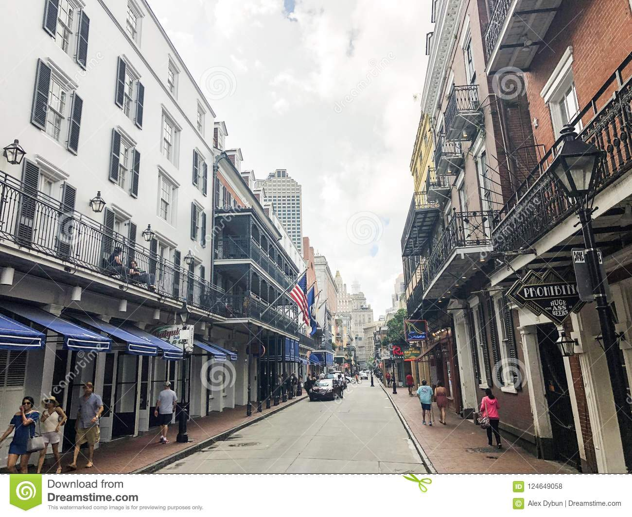 Street in the new Orleans, day life, and at night it all begins