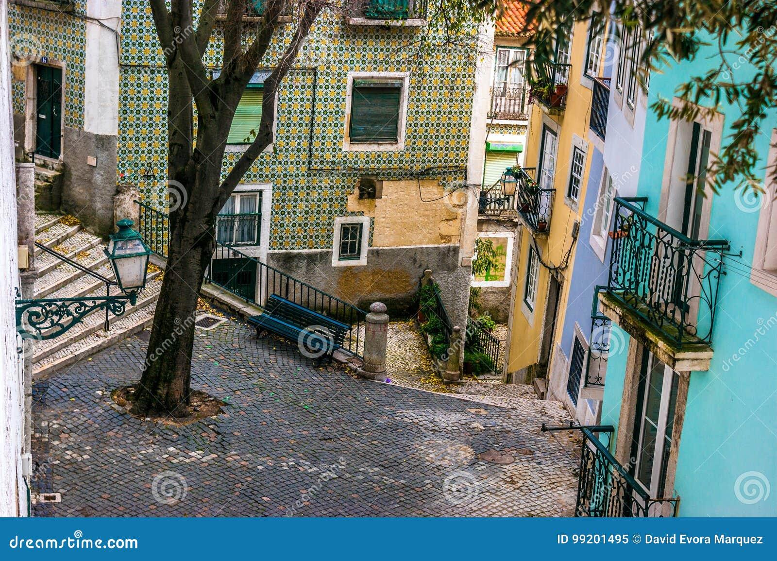 Street in the old neighborhood of Alfama, Lisbon