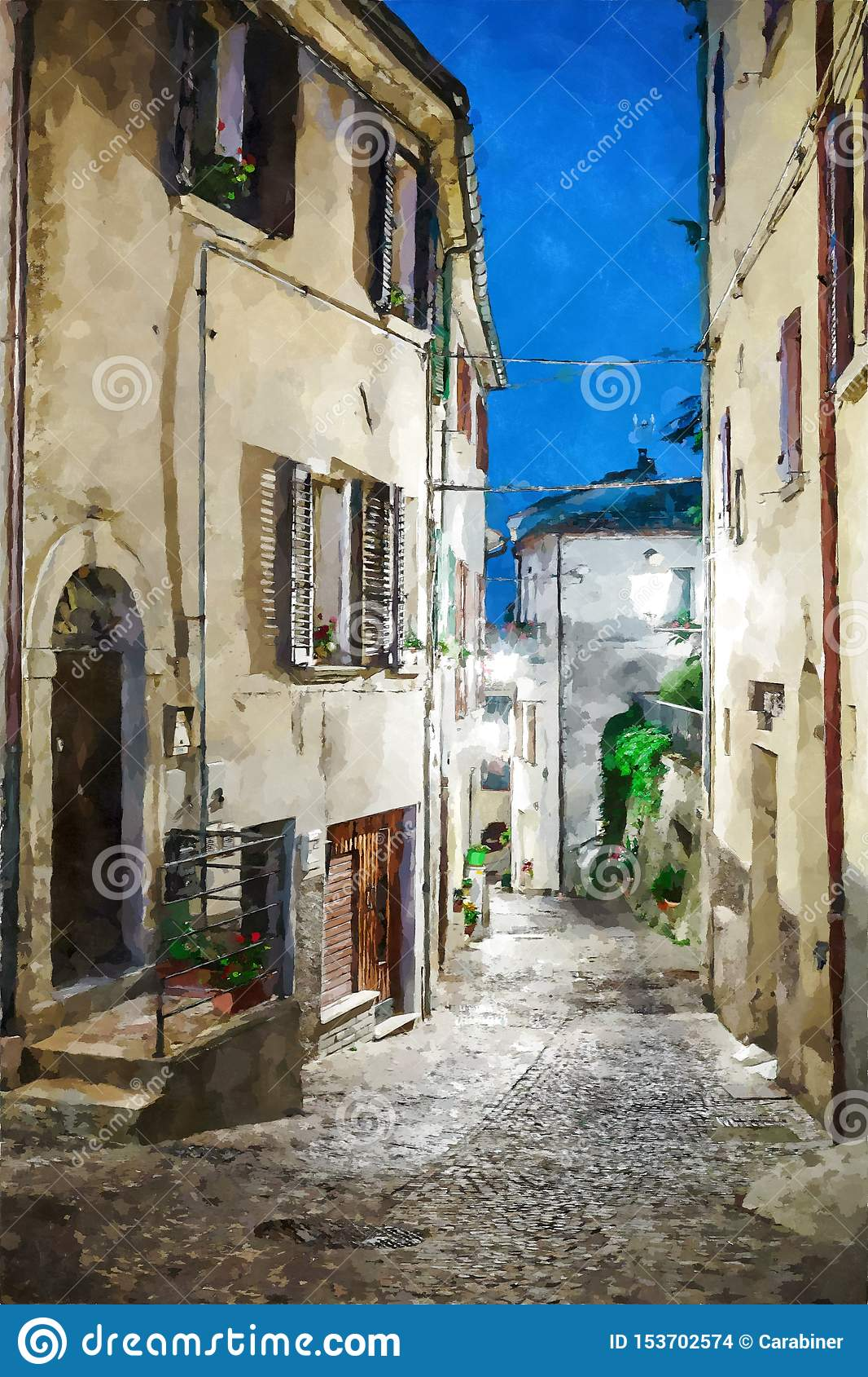 Street in the old town in Italy at night. Digital illustration in watercolor style