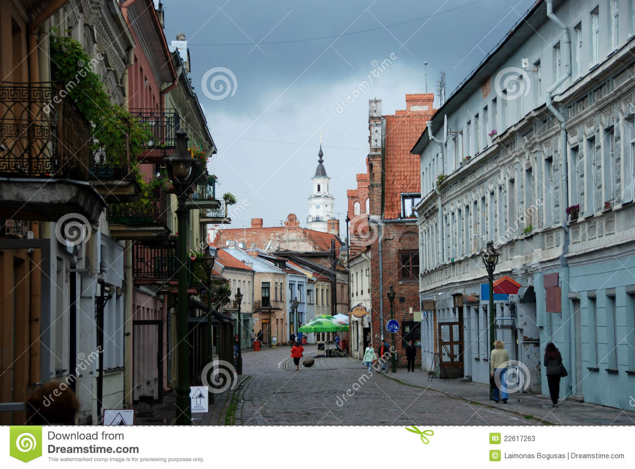 Street in old town of Kaunas, Lithuania