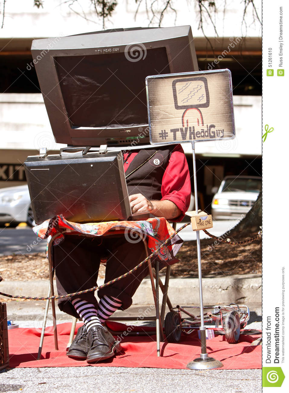 Street Performer Wears Tv On Head At Maker Faire Editorial Image Circuit Board Images Of