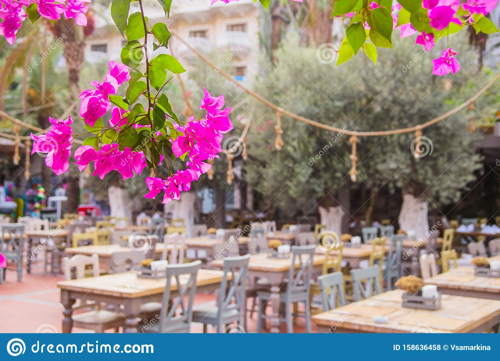 Street Restaurant With Eco Wooden Tables Natural Style Stock Photo Image Of Hotel Garden 158636458