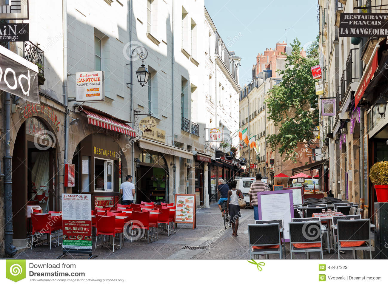 street rue de la baclerie in nantes france editorial stock photo image 43407323. Black Bedroom Furniture Sets. Home Design Ideas