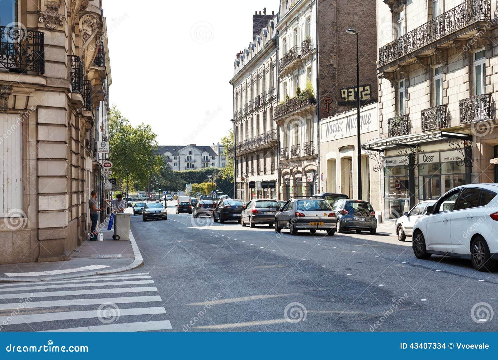 street rue de strasbourg in nantes france editorial stock image image 43407334. Black Bedroom Furniture Sets. Home Design Ideas