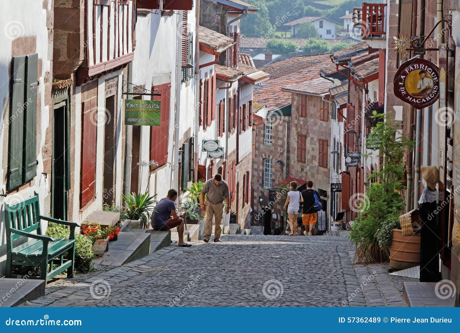 A street in saint jean pied de port editorial stock image - St jean pied de port to santiago distance ...
