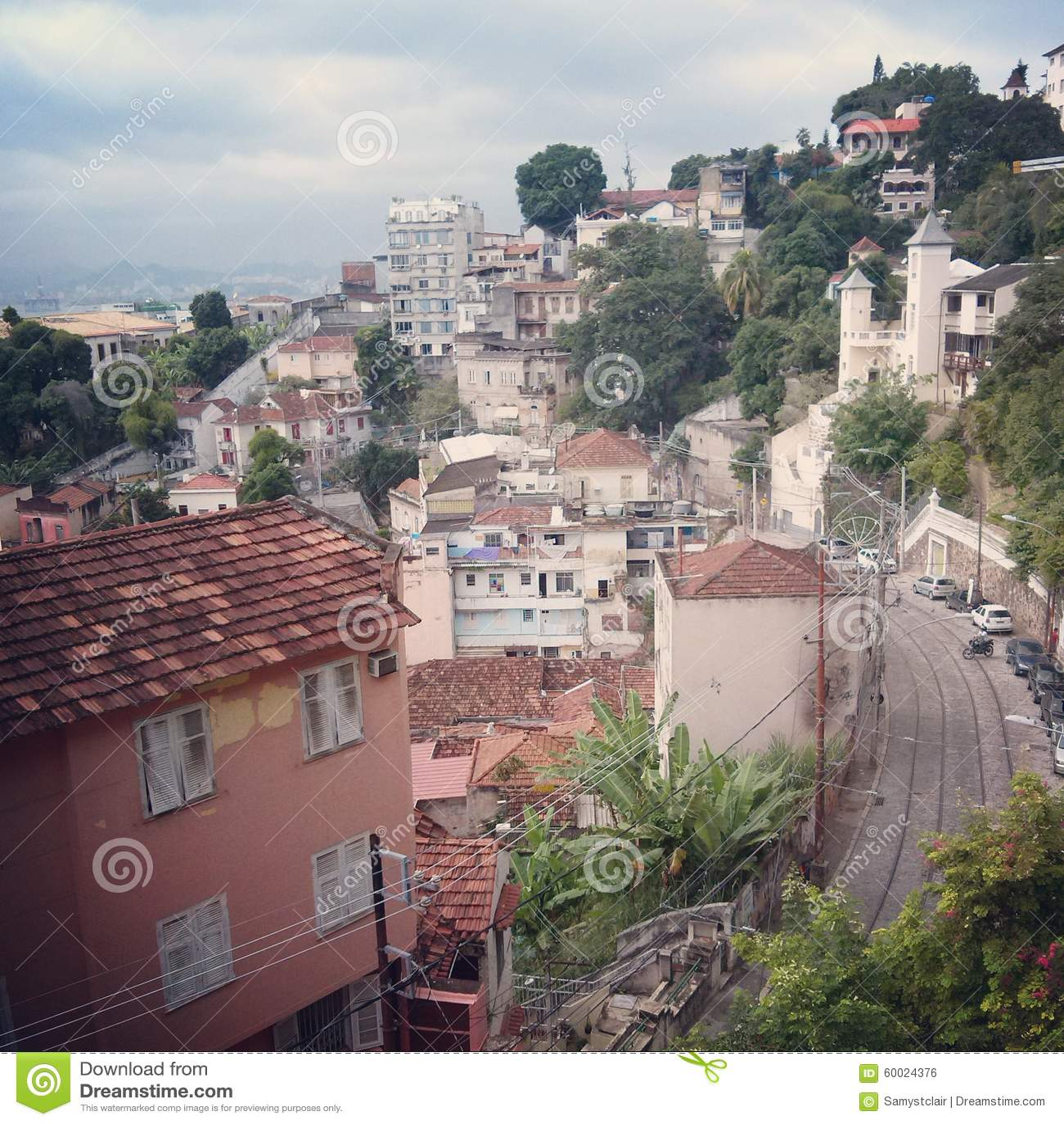 street in santa teresa rio de janeiro brazil stock photo image 60024376. Black Bedroom Furniture Sets. Home Design Ideas