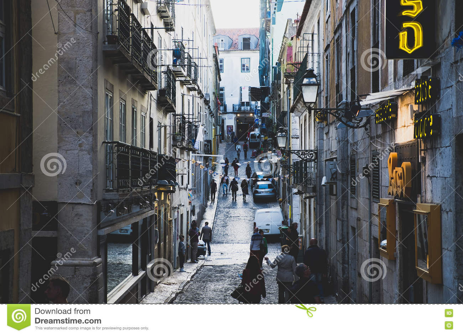 Street scene in Bairro Alto district in Lisbon