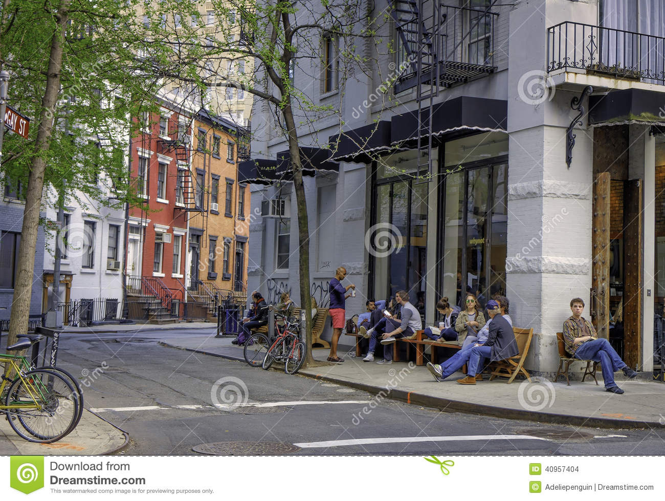 Download Street Scene, Greenwich Village, New York Editorial Stock Image - Image of women, bicycles: 40957404