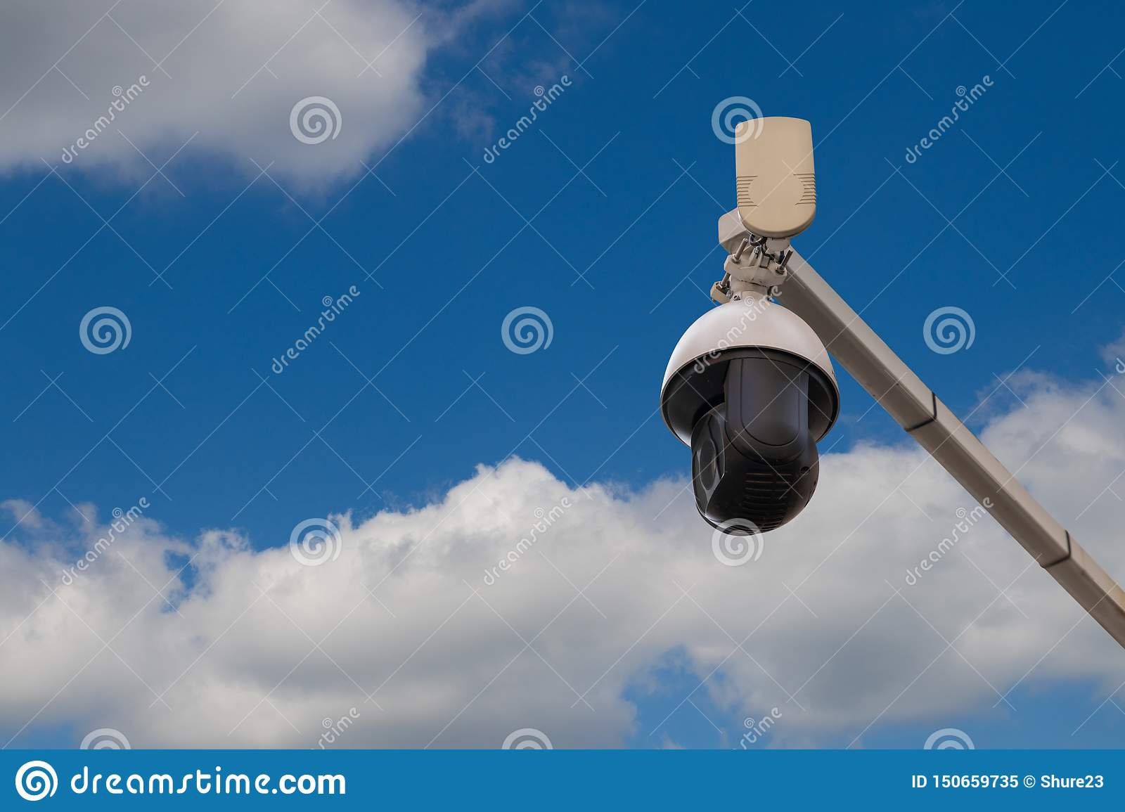 Big brother. Two surveillance cameras stock photo image of.