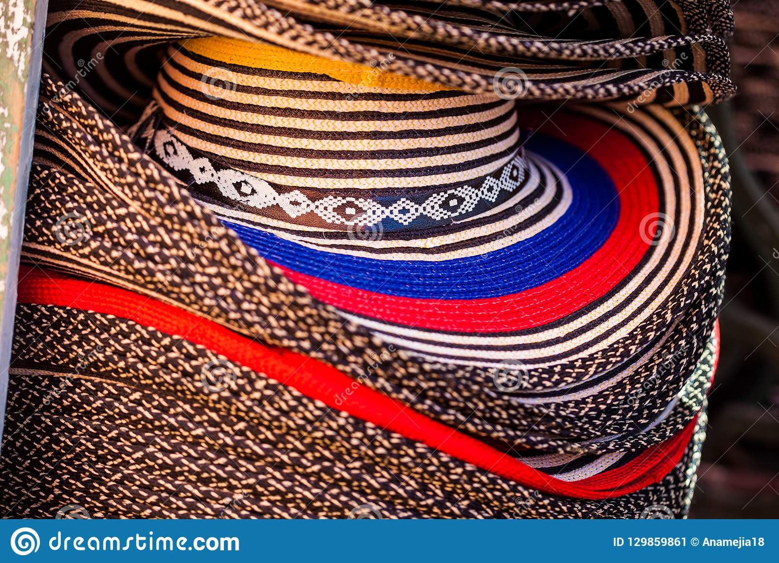d1495a2f9fd An street sell of traditional hats from Colombia called Sombrero vueltiao