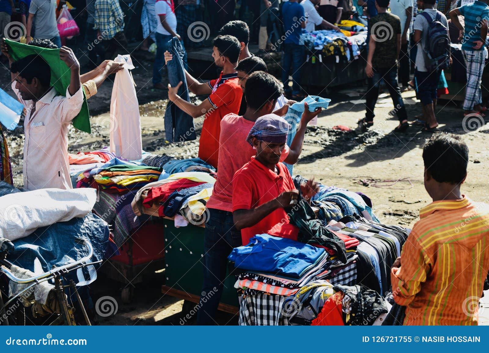 Street sellers selling garments around a street in Bangladesh