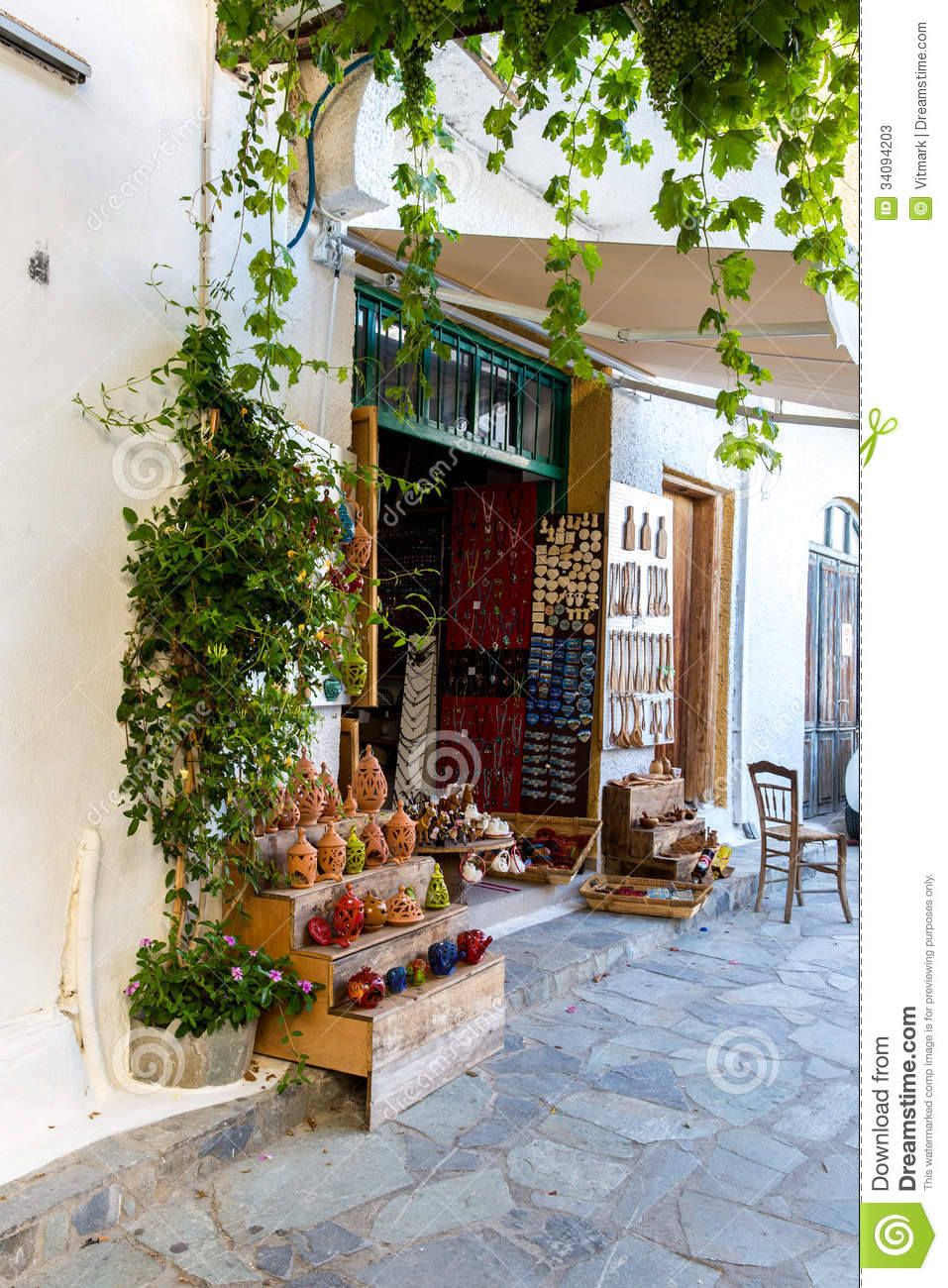 Street shop with ornaments gift souvenir in small cretan for Outside house ornaments