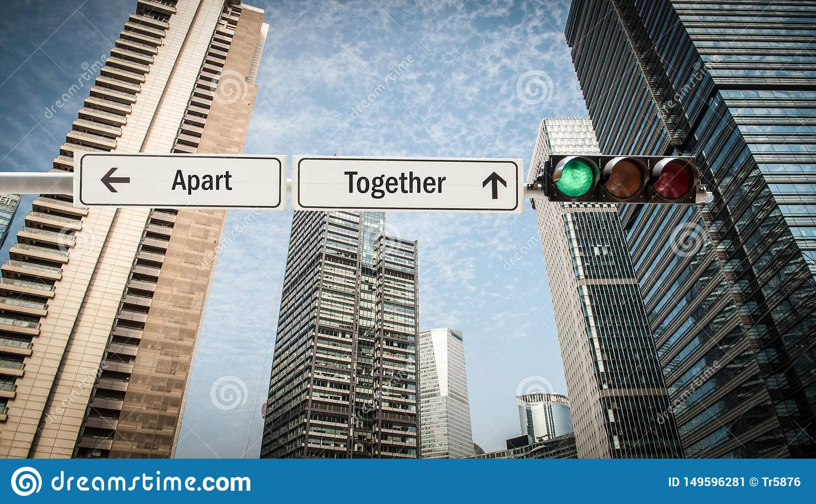 Street Sign to Together versus Apart