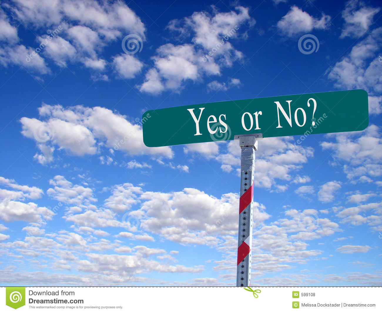 Street Sign Yes Or No Royalty Free Stock Photos - Image: 599108