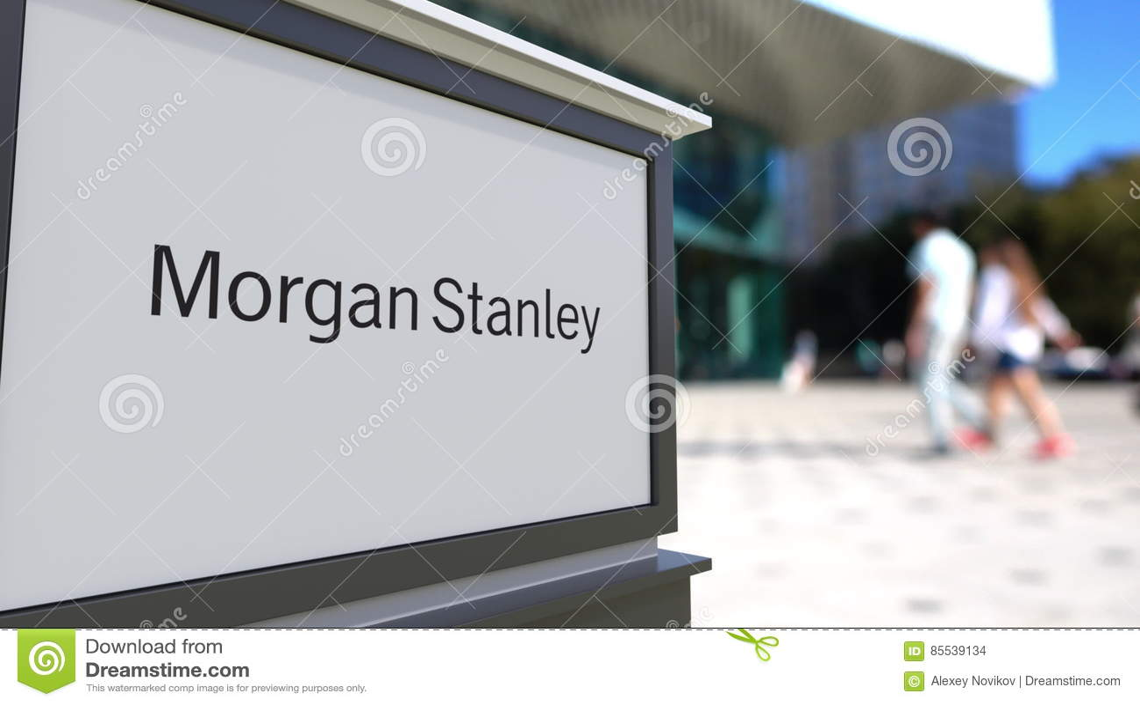 Street Signage Board With Morgan Stanley Inc  Logo  Blurred
