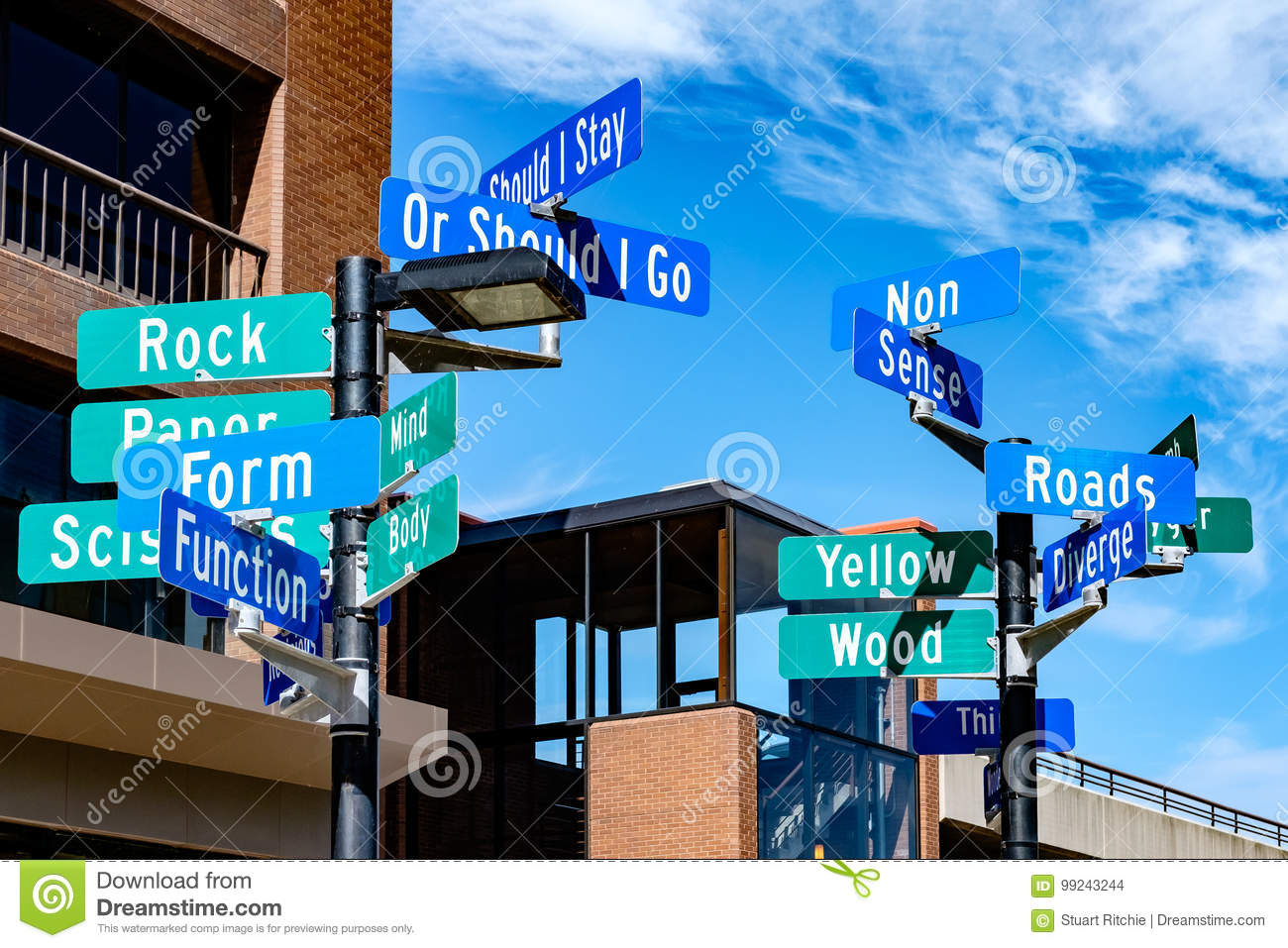 Street signs depicting concept of indecision