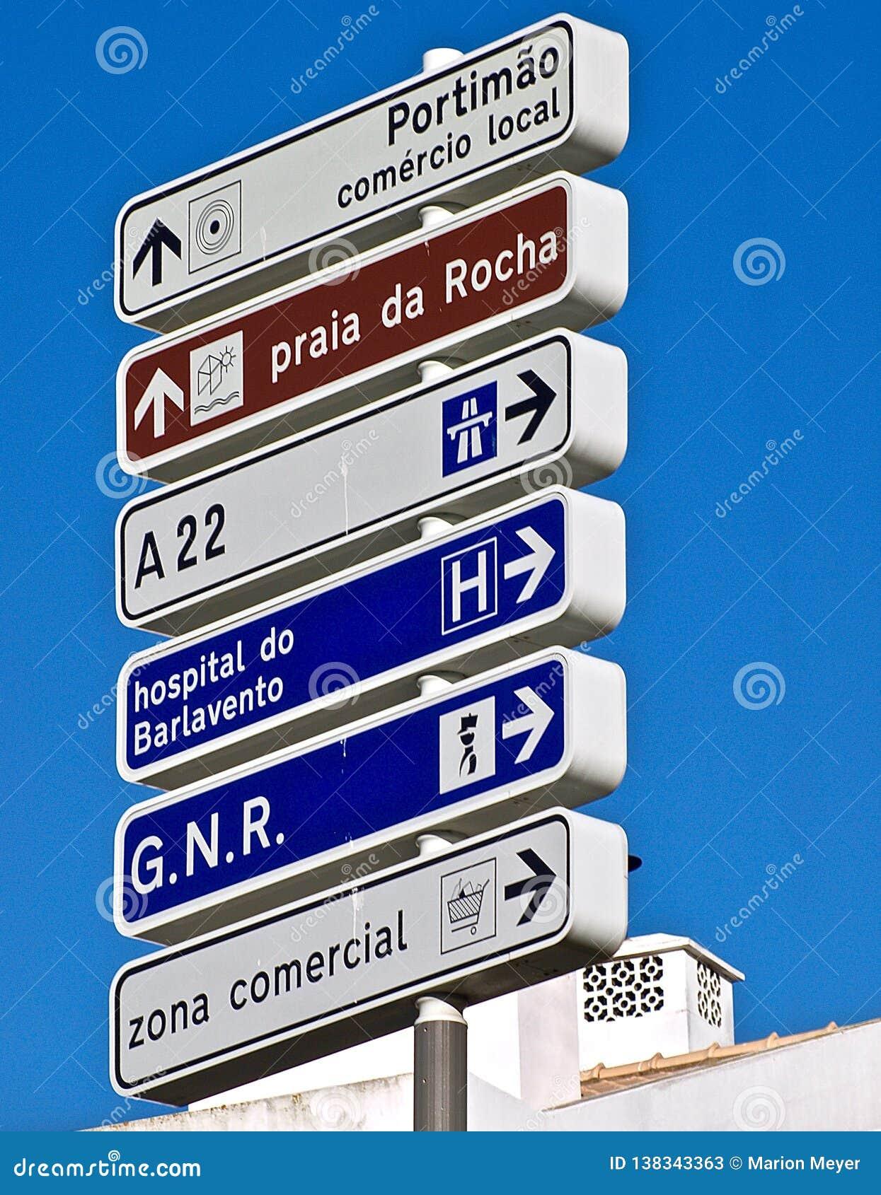 Street signs in Portimao in Portugal