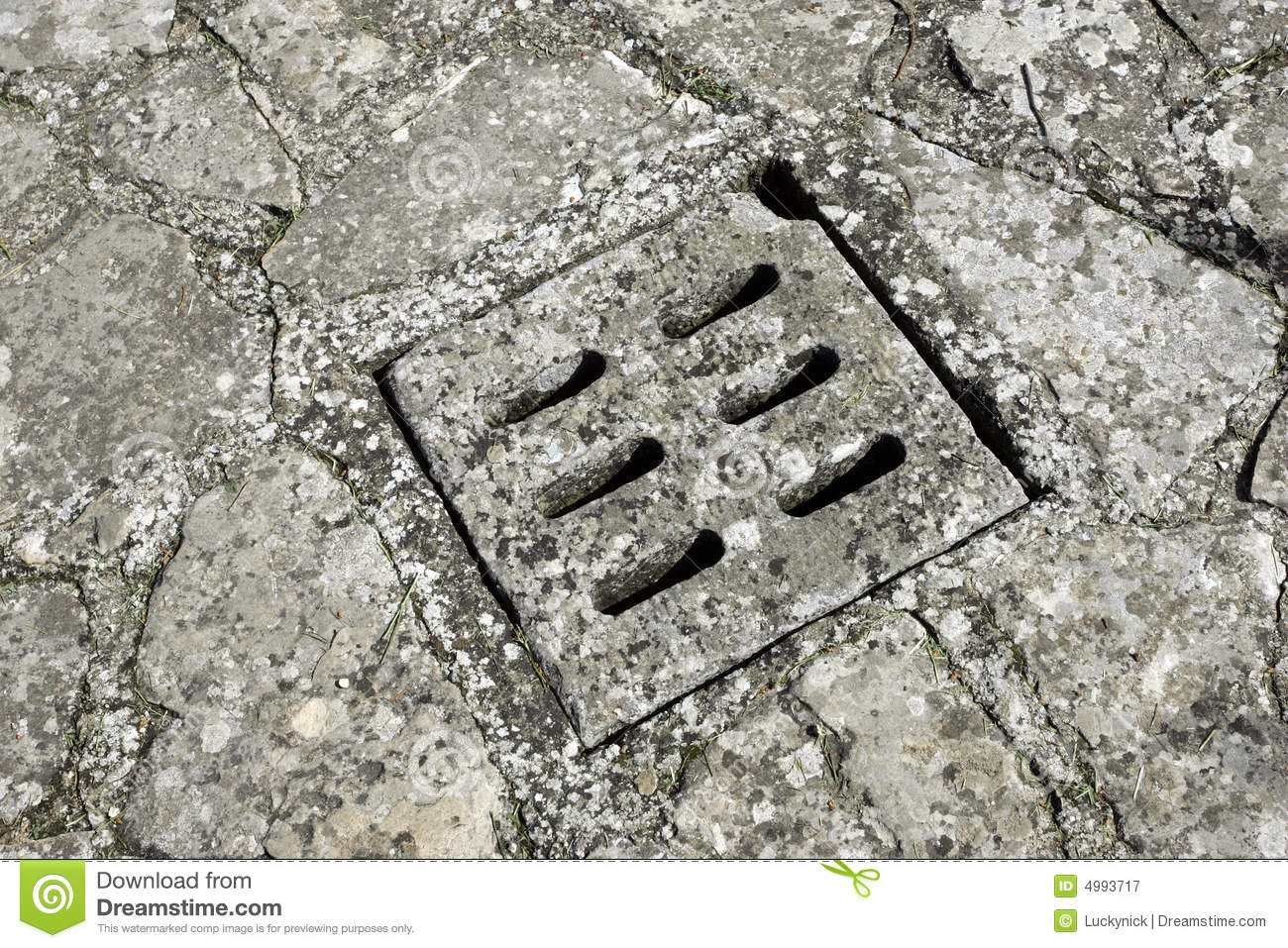 Concrete Storm Sewer : Street storm drain cover royalty free stock photography