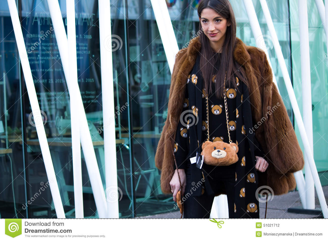 Street Style Milan Fashion Week Autumn Winter 2015 16 Editorial Photography Image 51021712