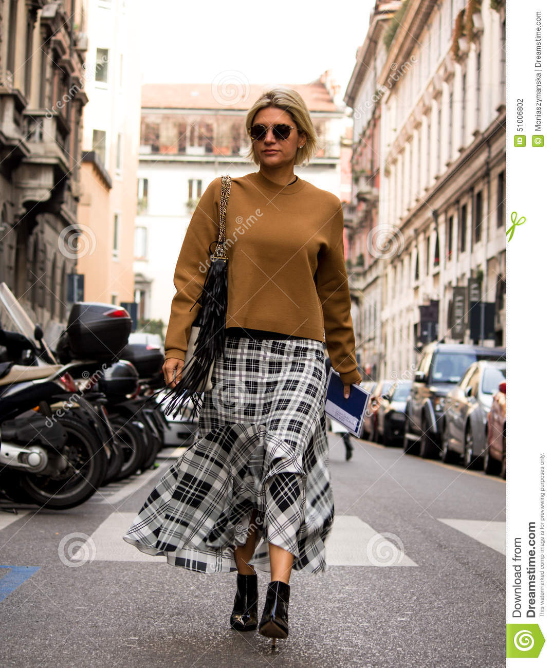 Street Style Milan Fashion Week Autumn Winter 2015 16 Editorial Photography Image 51006802