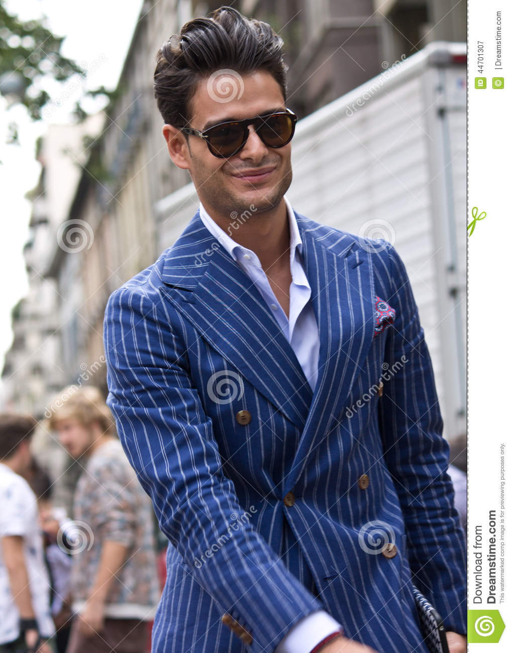 Street Style During Milan Fashion Week For Spring Summer 2015 Editorial Photography Image