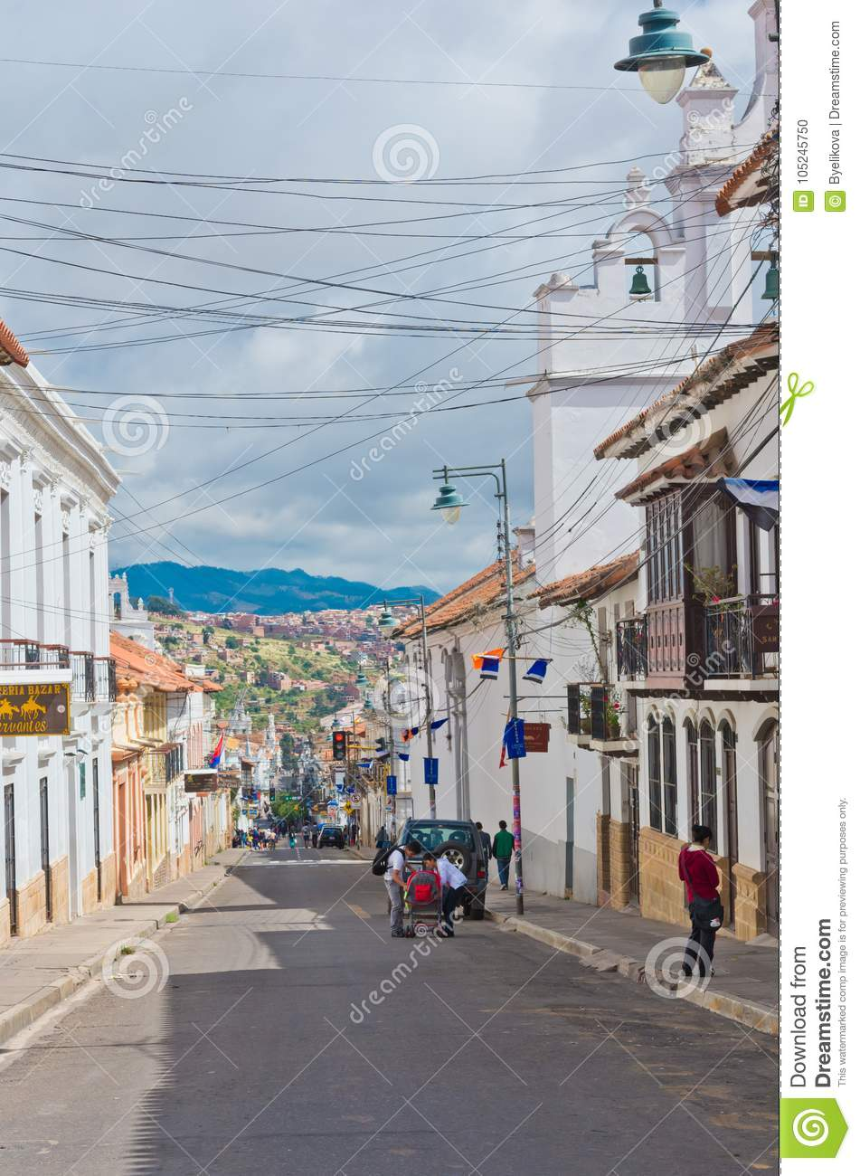 Street In Sucre Capital Of Bolivia Editorial Image Image Of City Attraction 105245750