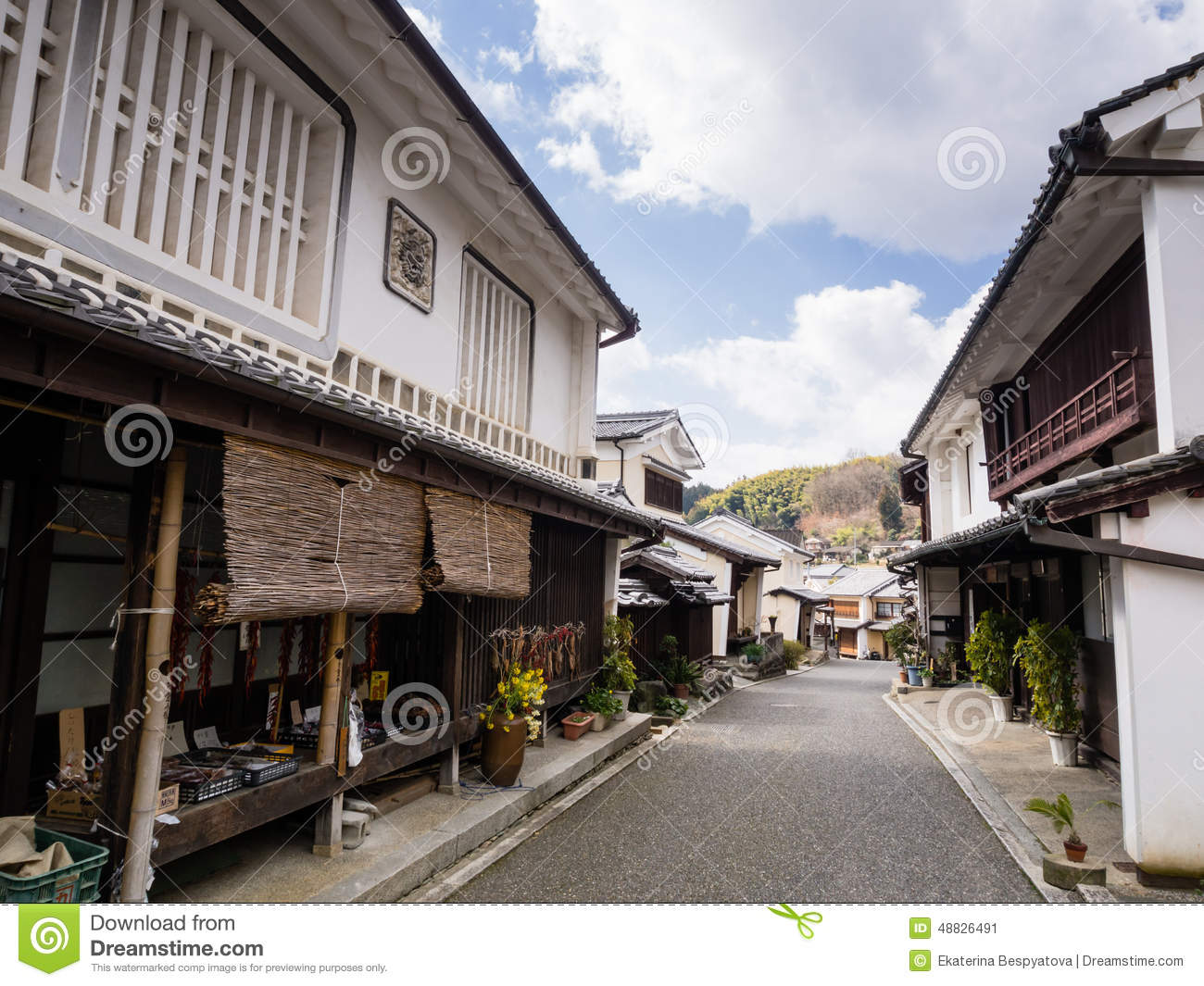 Street with traditional japanese houses editorial photo for Asian houses photos