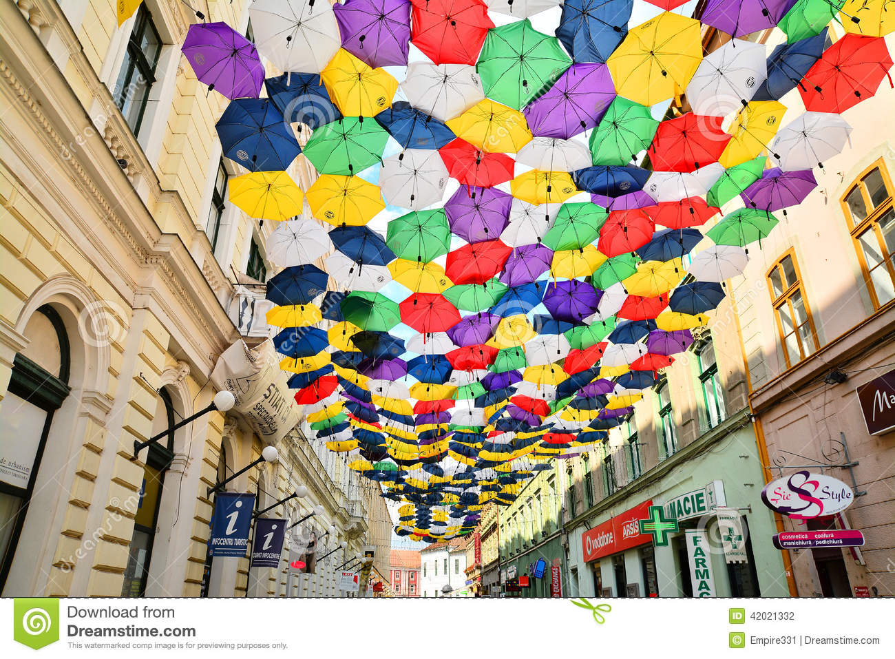 Street With Umbrellas Editorial Photography Image Of Colored 42021332