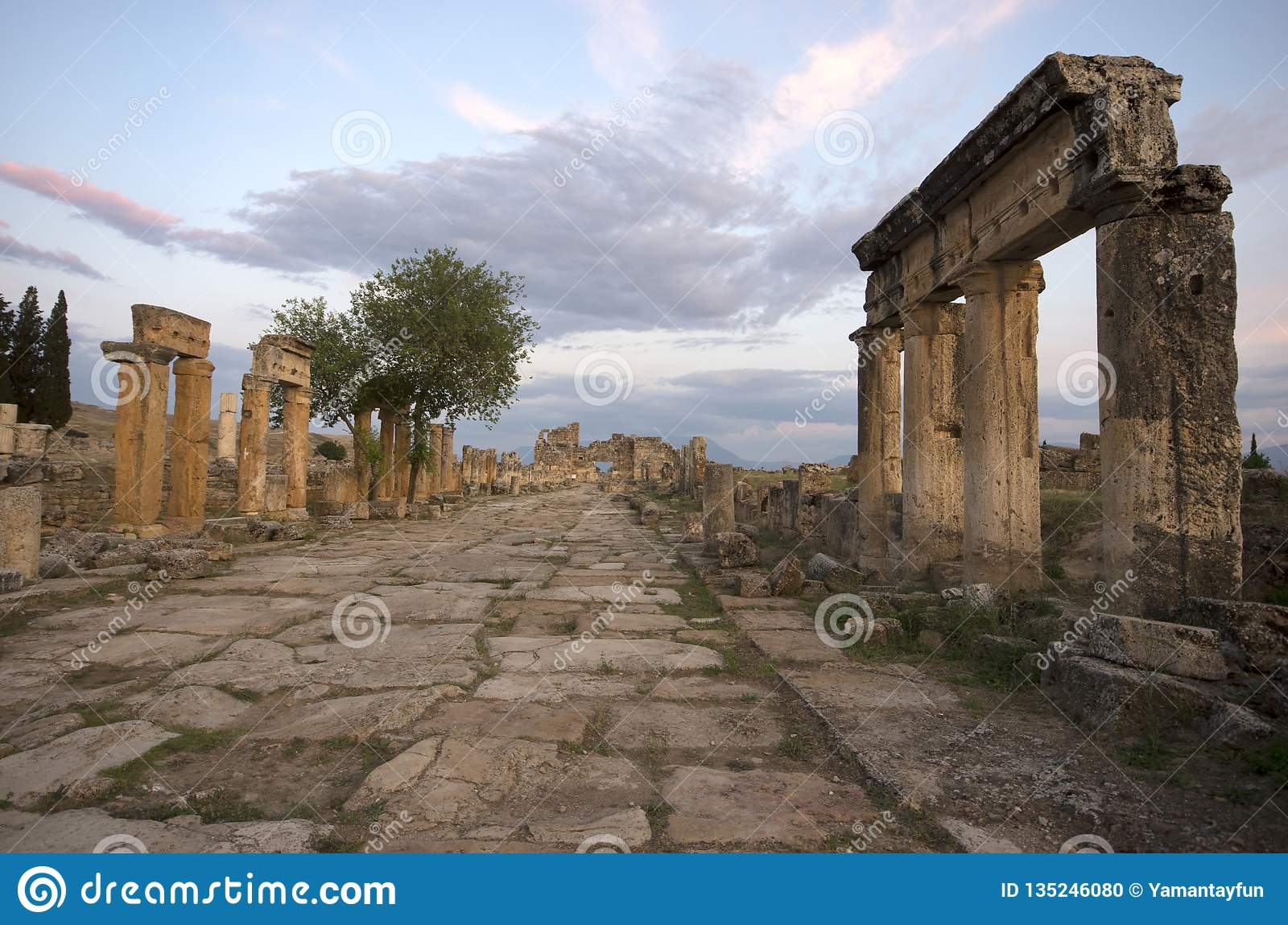 The street view of the ancient city Hierapolis, Pamukkale / Turkey