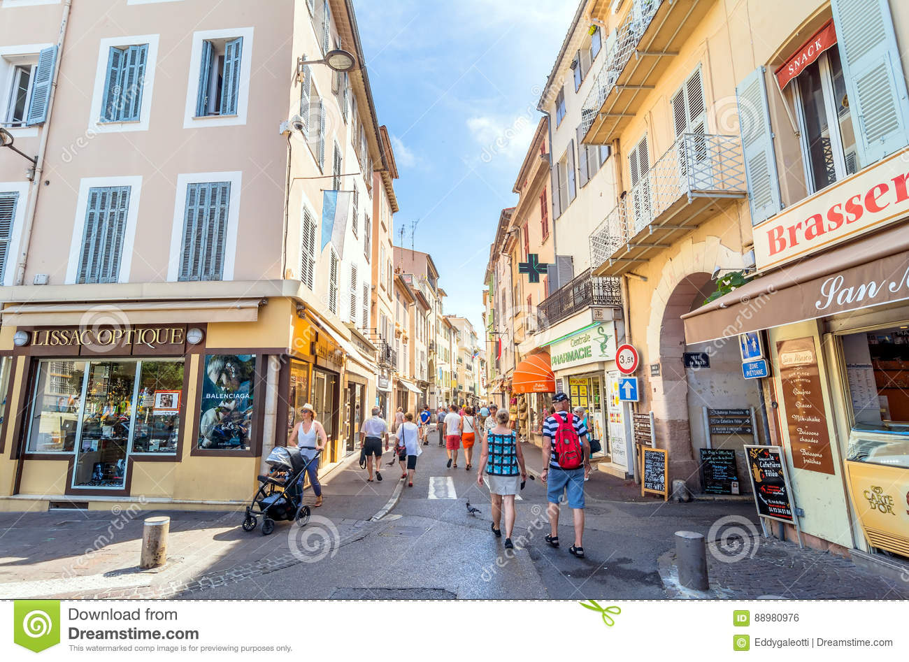 street view in antibes old town france editorial photo image 88980976. Black Bedroom Furniture Sets. Home Design Ideas