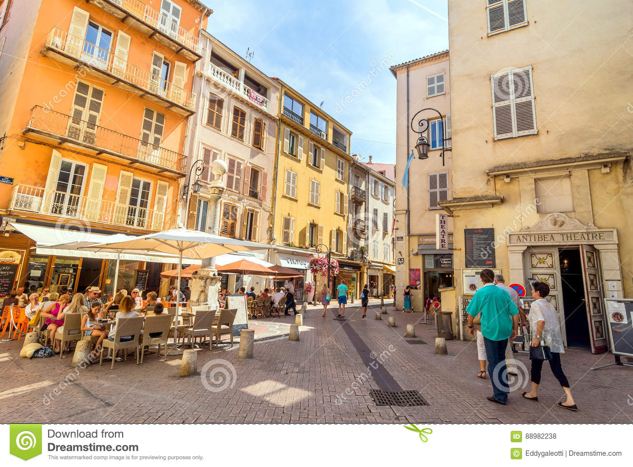 street view in antibes old town france editorial stock photo image of shops shadow 88982238. Black Bedroom Furniture Sets. Home Design Ideas